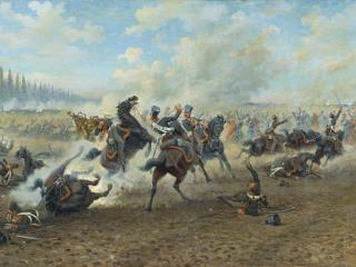обои Мазуровский Виктор (1859-не ранее 1923). Кавалерийский бой. Холст, масло фото