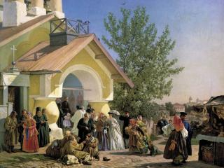 обои для рабочего стола: Выход из церкви в Пскове