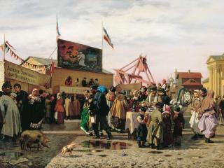 обои Попов Андрей (1832-1897). Балаганы в Туле. 1873, холст, масло фото