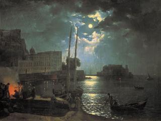 обои Лунная ночь в Неаполе. 1828 фото