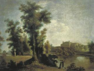 обои Вид на Гатчинский дворец с Длинного острова. 1796 фото