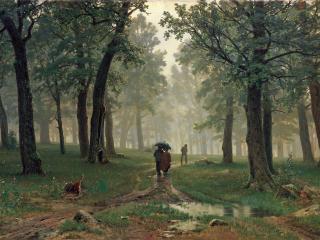 обои для рабочего стола: Дождь в дубовом лесу. 1891, холст, масло, 124х203 см