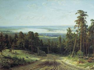 обои для рабочего стола: Кама близ Елабуги. 1895, холст, масло, 106х177 см