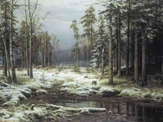 обои Первый снег. 1875, холст, масло, 140х200 см фото