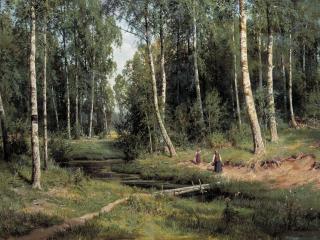 обои Ручей в березовом лесу. 1883, холст, масло, 105х153 см фото
