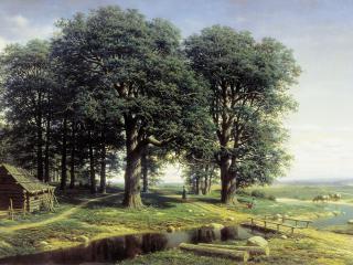 обои Дубовая роща. 1863, холст, масло, 98х160 фото