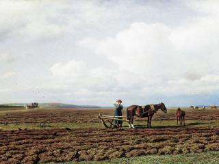 обои На пашне. 1872, холст, масло, 71х131 см фото