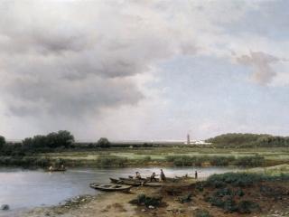 обои Вид на реку Казанку. 1875, холст, масло, 65х120 см фото