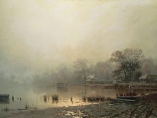 обои Туман. Красный пруд в Москве осенью. 1871, холст, масло, 68х113 см. фото