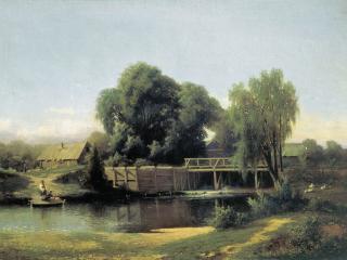 обои У плотины. 1864, холст, масло, 64х92 см фото