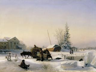 обои Возка льда. 1849, холст, масло, 68х96 см фото
