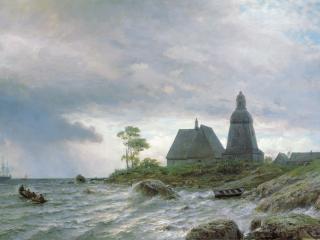 обои Северный пейзаж. 1872, холст, масло, 64х104 см фото