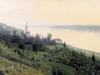 обои Вечер. Золотой Плес. 1889, холст, масло, 84х142 см  фото