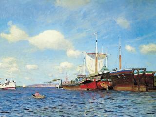 обои Свежий ветер. Волга. 1895, холст, масло, 72х123 см фото