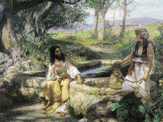 обои Христос и самарянка. 1890. Холст, масло. 101х183 см фото