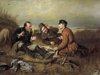 обои Охотники на привале. 1871. Холст, масло. 119х183 см фото