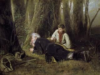 обои Птицелов. 1870. Холст, масло. 83х126 см фото