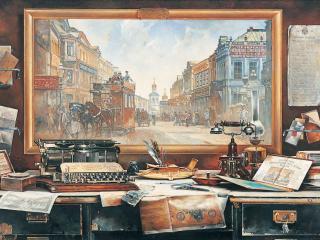 обои для рабочего стола: Страховой дом. Холст, масло, 160 х 230 см, 1997 г