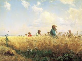 обои Страдная пора (Косцы). 1887, холст, масло, 179х275 см фото