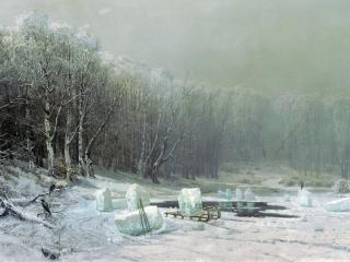 обои Зима. Ледокол. 1878, холст, масло, 109х177 см фото