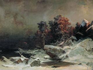 обои для рабочего стола: Зимний вечер. 1866. Холст, масло, 173х266 см