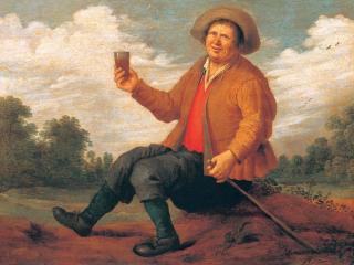 обои Крестьянин, пьющий вино фото