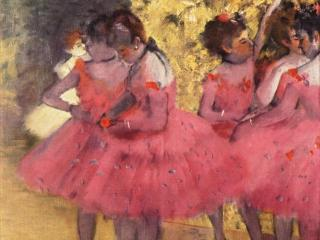 обои для рабочего стола: Розовые танцовщицы между кулис