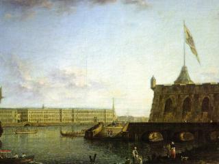 обои Вид Петропавловской крепости и дворцовой набережной фото