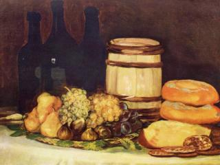 обои Натюрморт с фруктами, бутылками и хлебами фото