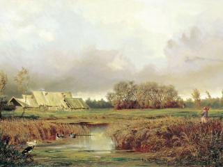обои Болото осенью. 1871. Холст, масло фото