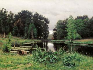 обои Пейзаж с прудом. 1887. Холст, масло. 46х64 см фото