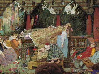 обои Спящая царевна. 1900-1926, холст, масло, 214х452 см фото