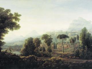 обои для рабочего стола: Вид Сицилии. Горы. 1811