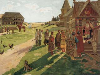 обои В усадьбе князя. 1907. Акварель фото