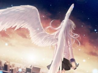 обои Angel Beats! - Ангел в небе смотрит на город фото