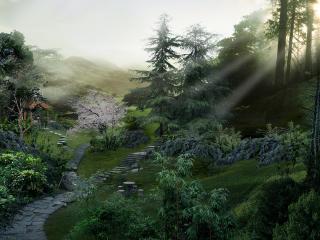 обои Тропинки по склону холма фото