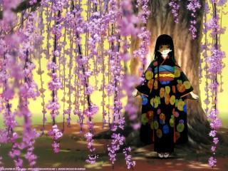 обои Hell Girl - Девочка в кимоно у дерева фото
