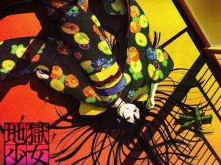 обои Hell Girl - Девушка в кимоно на полу фото