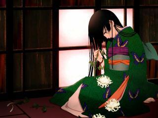 обои Hell Girl - Девушка в зеленом кимоно с бабочками фото