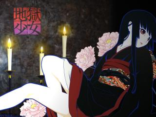 обои Hell Girl - Адская девушка с цветами и свечками фото