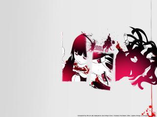 обои Hell Girl - Раненая девушка на светлом фоне фото