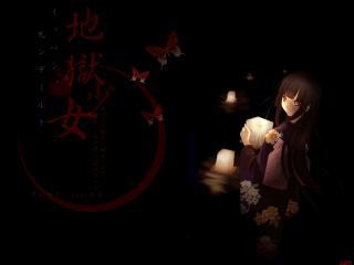обои Hell Girl - Адская девочка с фонариками и бабочками фото