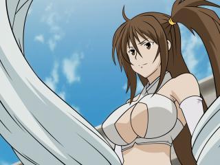 обои Sekirei - Девушка в белом на фоне синего неба фото
