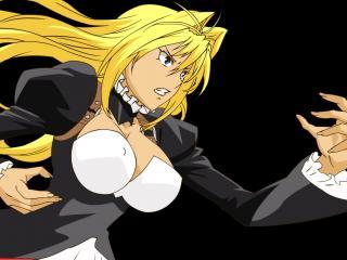 обои Sekirei - Боевая блондинка на черном фоне фото
