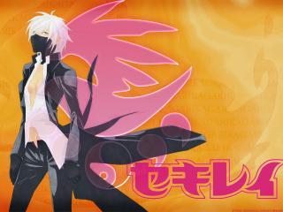 обои Sekirei - Девушка с полузакрытым лицом маской фото