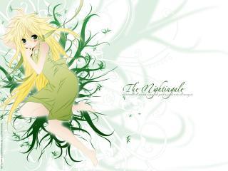 обои Sekirei - Маленькая блондинка в зеленом фото