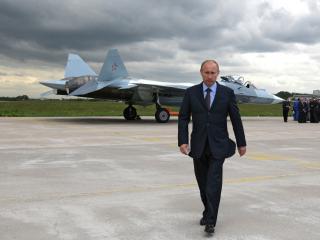 обои для рабочего стола: Владимир Путин на фоне истребителя