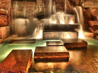 обои Декоративный водопад с подсветкой фото