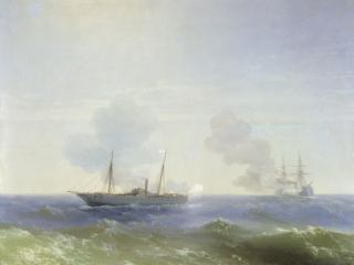 обои Иван АЙВАЗОВСКИЙ (1817-1900). Бой парохода «Веста» с турецким броненосцем «Фехти-Буленд» в Чёрном фото