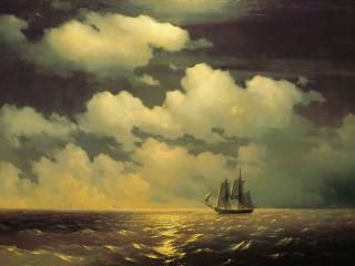 обои Иван АЙВАЗОВСКИЙ (1817-1900). Бриг «Меркурий» после победы над двумя турецкими судами встречается фото